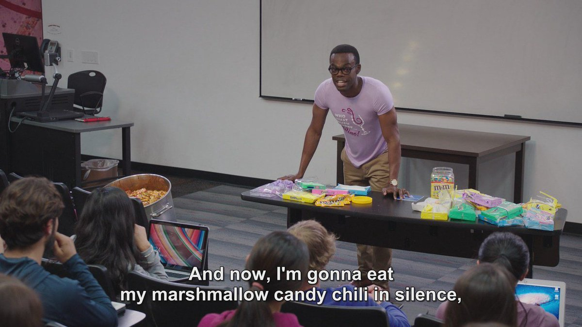 And now I'm gonna eat my marshmallow candy chili in silence.